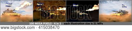 4 High Resolution Illustrations Of Heavy Tank With Fictional Design And With El Salvador Flag - El S