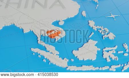 Cambodia Highlighted On A White Simplified 3d World Map. Digital 3d Rendering.