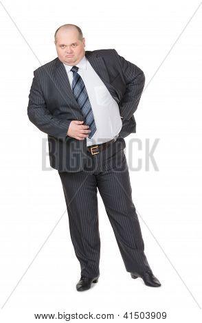 Fat Businessman Glowering At The Camera