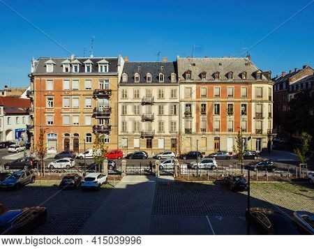 Strasbourg, France - Sep 16, 2018: View From Above At The Typical French Real Estate Buildings On St
