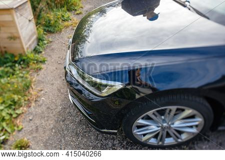 Mummelsee, Germany - Sep 21, 2018: View From Above At The Volkswagen Passat Car - Tilt-shift Lens Us