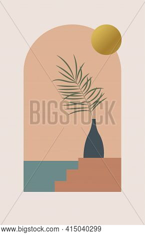 Abstract Contemporary Aesthetic Background With Arch, Sea, Gold Sun, Palm Leaf. Boho Design For Post