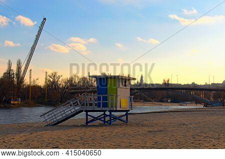 Kyiv, Ukraine-march 21, 2021:detailed View Of Lifeguard Tower And Its Shadow On The Sand. Venice Bea