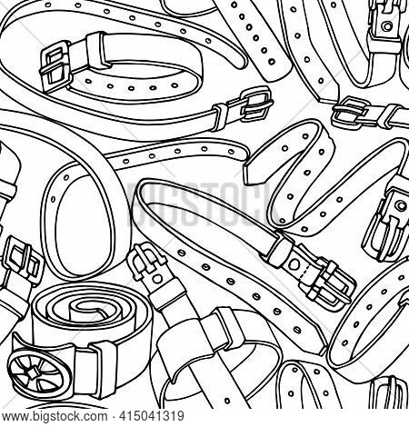 Seamless Pattern Of Simple Leather Belts With Metal Buckles, Pet Collars, Vector Illustration With B