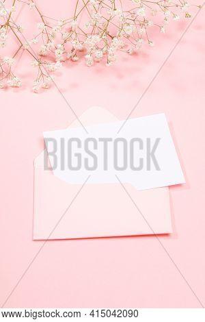 Pastel Pink Festive Greeting Card With Envelope, Empty Sheet, White Gypsophila Flowers. Wedding, Wom