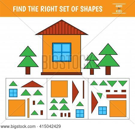 Educational Game For Kids. Geometrical Figure House. Find The Correct Block With Geometric Shapes. P