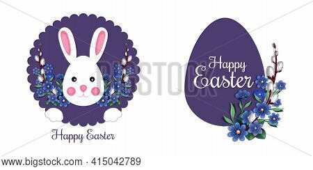 Festive Easter Banner Set With Bunny, Easter Egg And Traditional Easter Greeting. Happy Easter. Vect