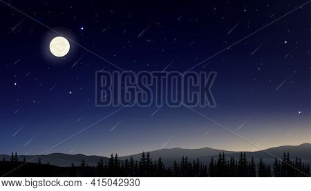 Night Sky With Full Moon With Stars Shining And Comet Falling, Landscape Dramatic Dark Blue Sky, Bea