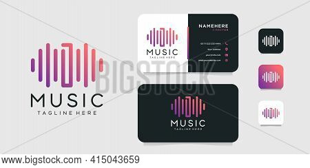 Modern Music Sound Wave Letter D Logo Design With Business Card Vector Template. Logo Can Be Used Fo