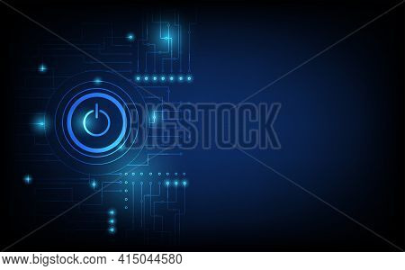 Power Button Technology Background, Power Button Concept, Futuristic Digital Innovation Background V