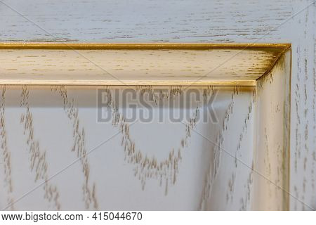 A Corner Of The Facade Of The Lacquered Exclusive Italian Kitchen In The Roman Style. Natural Wood F