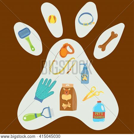 Set Of Pet Grooming Accessories In The Shape Of Dogs Paw. Collection Of Pets Elements. Various Pet S