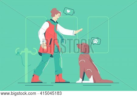 Mistress With Pet Dog Vector Illustration. Woman Owner Train Puppy In Park Flat Style. Connection Be