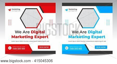 Digital Marketing Social Media Post Banner Template, Digital Marketing Agency Post Banner, Digital M