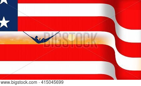 A Usa Red White And Blue Flag Is The Background For A Woman In A Hammock On A Beach At Sunset In Thi