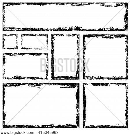 Collection Of Rectangular Ink Grunge Frames, Borders Set. Squared Hand Drawn Box For Text With Torn,