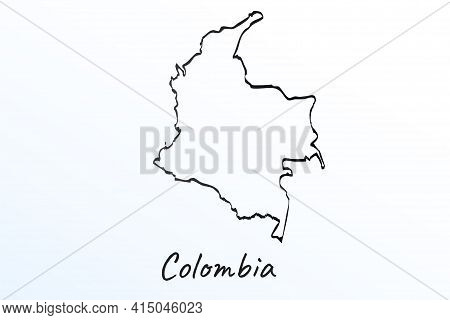 Hand Draw Map Of Colombia. Black Line Drawing Sketch. Outline Doodle On White Background. Handwritin