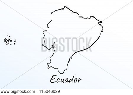 Hand Draw Map Of Ecuador. Black Line Drawing Sketch. Outline Doodle On White Background. Handwriting
