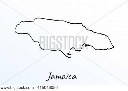 Hand Draw Map Of Jamaica. Black Line Drawing Sketch. Outline Doodle On White Background. Handwriting
