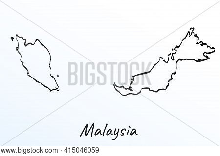 Hand Draw Map Of Malaysia. Black Line Drawing Sketch. Outline Doodle On White Background. Handwritin
