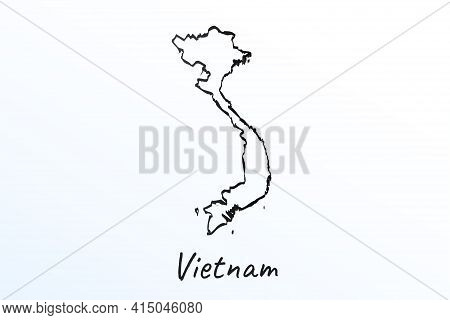 Hand Draw Map Of Vietnam. Black Line Drawing Sketch. Outline Doodle On White Background. Handwriting
