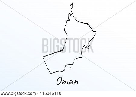 Hand Draw Map Of Oman. Black Line Drawing Sketch. Outline Doodle On White Background. Handwriting Sc