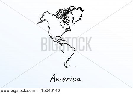 Hand Draw Map Of Continent America, North And South America. Black Line Drawing Sketch. Outline Dood