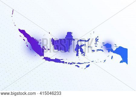 Map Icon Of Indonesia. Colorful Gradient Map On Light Background. Modern Digital Graphic Design. Lig