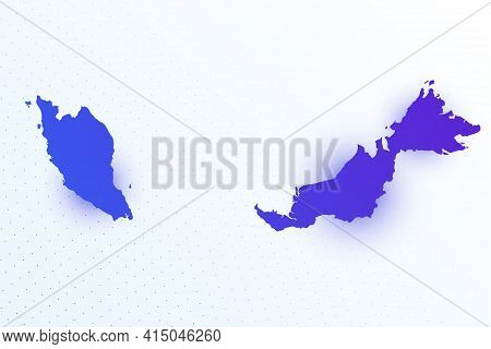 Map Icon Of Malaysia. Colorful Gradient Map On Light Background. Modern Digital Graphic Design. Ligh