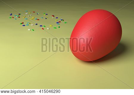Happy Easter. Colored Easter Egg. 3d Rendering. Egg On A Slightly Dented Colored Canvas With Colored