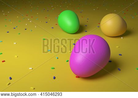 Happy Easter. Colored Easter Eggs. 3d Rendering. Eggs On A Slightly Dented Colored Canvas With Color