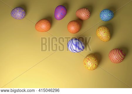 Happy Easter. Colored Easter Eggs With A Wavy Pattern. 3d Rendering. Eggs On A Slightly Dented Color