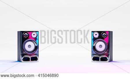 High Fidelity Stereo Loudspeakers On White Background And Neon Lights. Digital 3d Rendering.