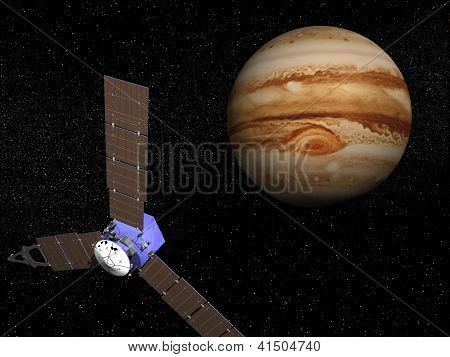 Juno Spacecraft Near Jupiter - 3D Render