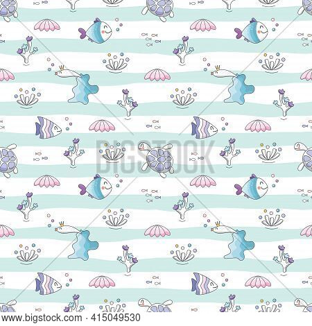 Sealife Striped Background. Sea Fish Characters Cartoon Seamless Pattern.textile For Kids, Notebook