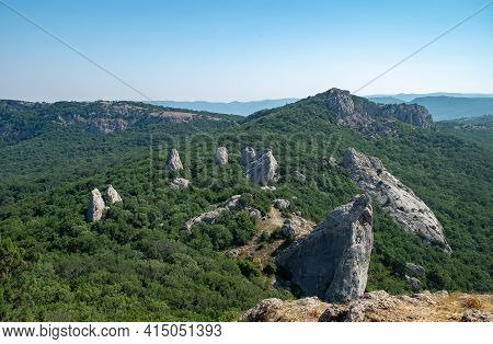 Mediterranean Landscape. Forested Rocks Of The Black Sea Coast Of The Southern Coast Of The Crimean