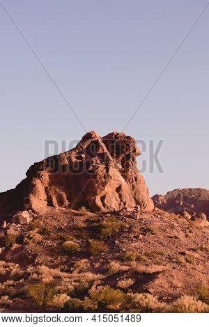 Rocky Outcrop In The Desert Near Uspallata, Mendoza, Argentina. Color Filter Effect.