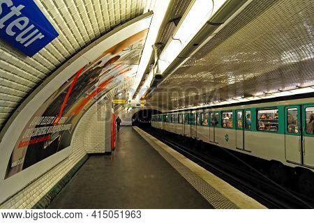 Paris, France, June 21: View Of The Platform Of Boulevard Pasteur Station On Rue Vaugirard On June 2