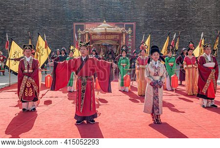 Xian, China - April 30, 2010: Ceremony At North Gate Of Shuncheng City Wall. Closeup Of Large Group