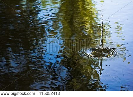 Splash And Ripples On Calm, Clear Water Of A Pond With Reflections Of Trees.