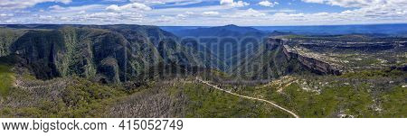 Aerial Panorama Of Kanangra Walls And Mount Cloud Maker In Kanangra-boyd National Park In The Centra
