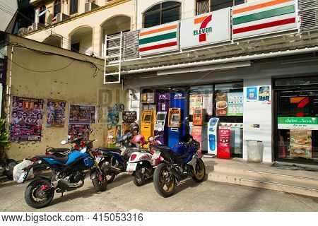 2019-11-05 / Phuket, Thailand - Parked Motorcyles Outside Of A 7-eleven Store.