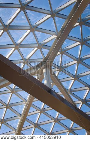 Glass Dome Ceiling In A Modern Building. Architectural Detail.
