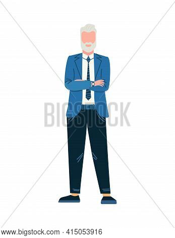 Business Man In Suit. Tall Senior Boss. Manager Is Standing. Success Professional With Grey Hair.