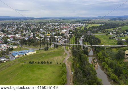 Aerial View Of The Township Of Singleton In The Hunter Valley In Regional New South Wales In Austral