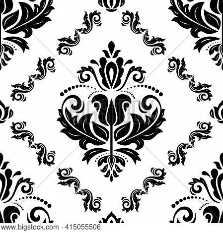 Orient Classic Pattern. Seamless Abstract Background With Vintage Elements. Black And White Orient B
