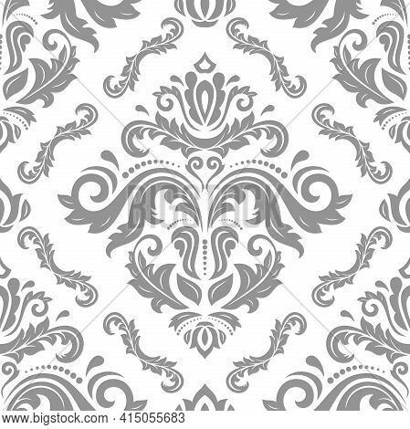 Classic Seamless Pattern. Damask Orient Ornament. Classic Vintage Background. Orient Light Ornament