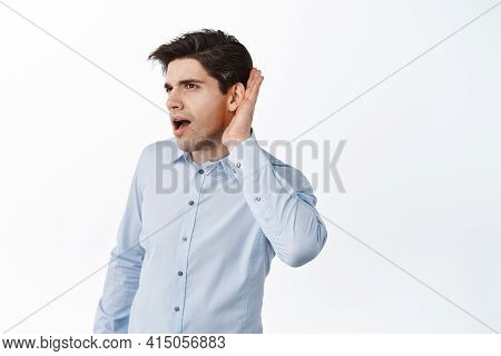 Office Worker Eavesdropping, Holding Hand Near Ear And Listen Closer, Overhear Rumors At Work, Stand
