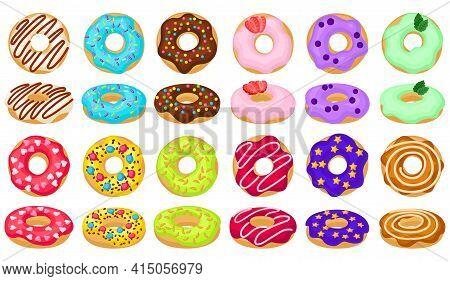 Doughnut Cartoon Vector Set Illustration Of Icon.isolated Collection Illustration Cartoon Of Donut O