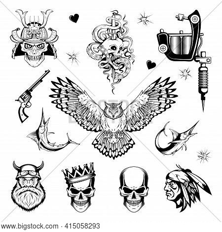 Tattoo Art. Black And White Tattoo. Drawing On The Body. Hand Drawn Tattoo Set. Vector Graphics To D
